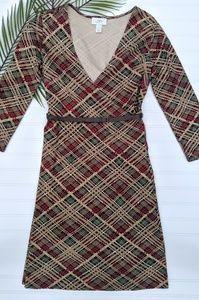 LOFT Brown Plaid Belted Knit Faux Wrap Dress